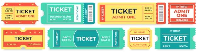 Geef een kaartje toe. coupon voor circusinvoer, retro bioscoopkaartje en coupons voor filmtoegang