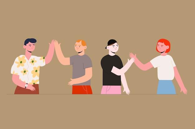 Geef me high-five! concept illustratie