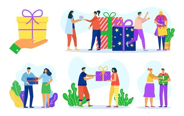 Geef vakantie cadeauset, vectorillustratie. man vrouw mensen karakter aanwezig viering vak elkaar, geïsoleerd op wit ontwerp.