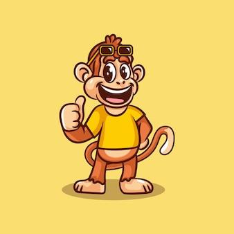 Geek aap karakter logo
