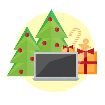 Geek gelukkig nieuwjaar en kerstkaart met computer, geschenken en vakantievoorwerpen