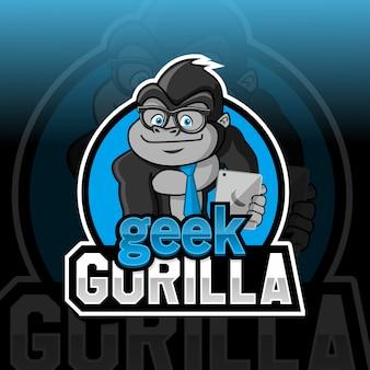 Geek gorilla mascotte logo ontwerp esport