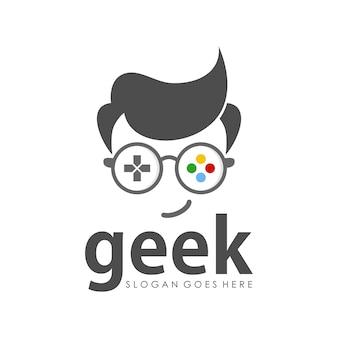 Geek logo ontwerpsjabloon