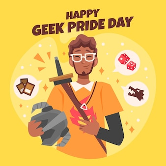 Geek trots dag gelukkig man met bril
