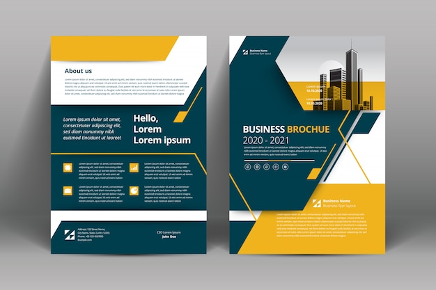 Geel a4 brochure lay-out sjabloon