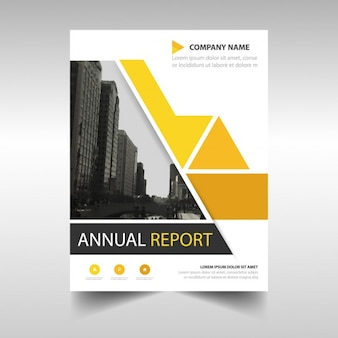 Geel abstract geometrische jaarverslag