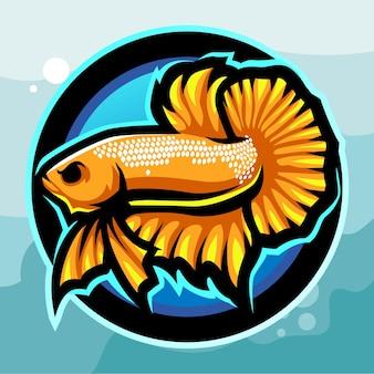 Geel betta vis mascotte esport logo ontwerp