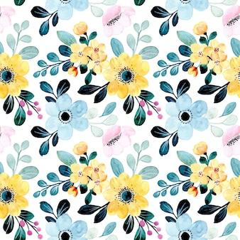 Geel blauw bloemenwaterverf naadloos patroon
