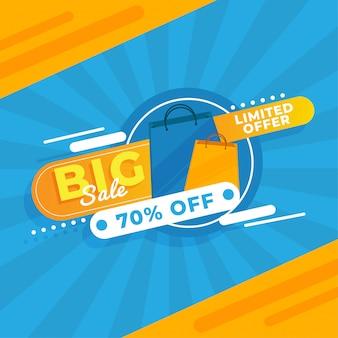 Geel blauw grote verkoop promotie sjabloon banner premium vector