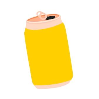 Geel blikje frisdrank aluminium blikje limonade kawaii schattig voorraad vectorillustratie geïsoleerd
