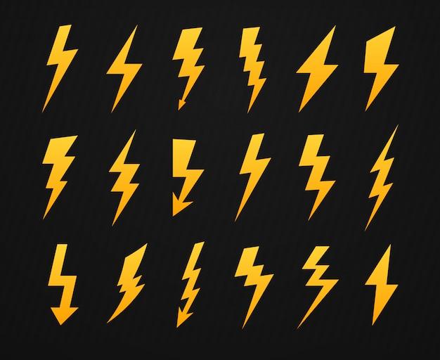 Geel bliksemsilhouet. elektriciteit hoogspanning, bliksemflits en energie bliksemschichten silhouetten pictogrammen instellen