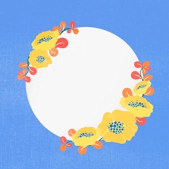 Geel bloemkader, vector, leuke illustratie