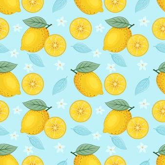 Geel citroen naadloos patroon op blauw vectorontwerp als achtergrond.