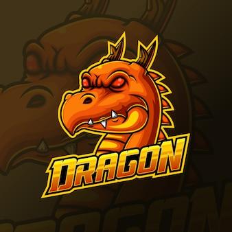 Geel drakenhoofd mascotte e sport logo ontwerp