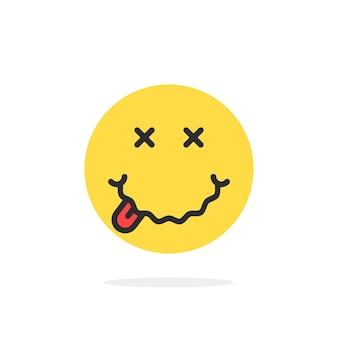 Geel dronken emoji gezicht pictogram. concept van avatar, ziekte, ziekte, griep, ziek, kinderachtig, symptoom, ziekte, alcoholisch, dronkenschap. vlakke stijl trend modern logo grafisch ontwerp op witte achtergrond