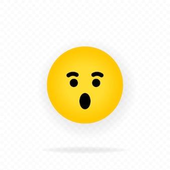 Geel emoji-pictogram. geschokt gezicht met emoticon. chat, commentaar, reactie emotes.