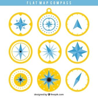 Geel en blauw kompas ingesteld
