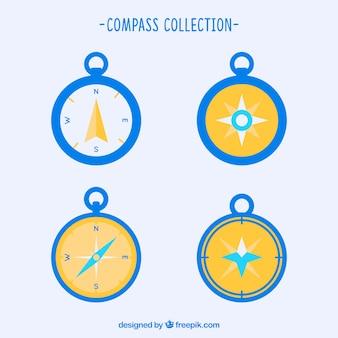 Geel en blauw kompaspak
