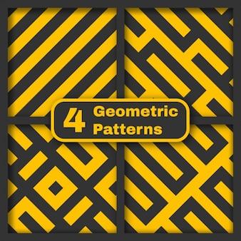 Geel en grijs geometrische en naadloze patroon set