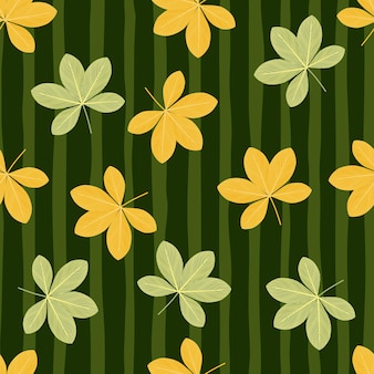 Geel en groen gekleurd willekeurig scheffler bloemen naadloos patroon
