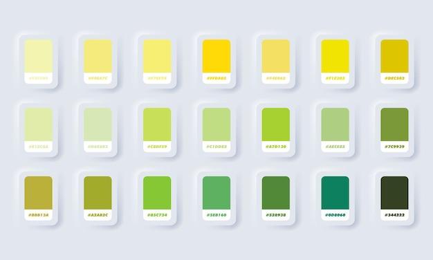 Geel en groen pastelkleurenpalet. catalogusmonsters groen en geel in rgb hex. kleurencatalogus. neumorphic ui ux witte gebruikersinterface webknop. neumorfisme.