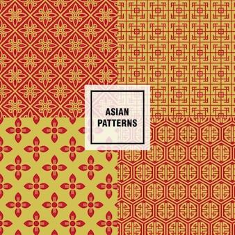 Geel en oranje aziatische patronen