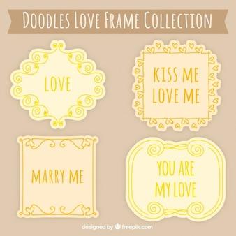 Geel en oranje liefde frames