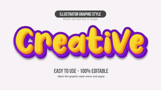 Geel en paars 3d-cartoon handgeschreven teksteffect
