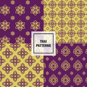 Geel en paars thaise patronen