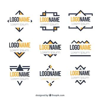 Geel en zwart geometrische logo's in monoline stijl