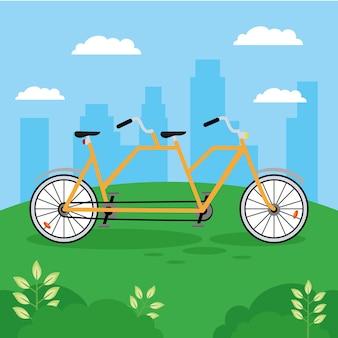 Geel fietstandemvoertuig Premium Vector