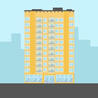 Geel gebouw met meerdere verdiepingen in platte cartoonstijl vectorillustratie ontwerp voor onroerend goed