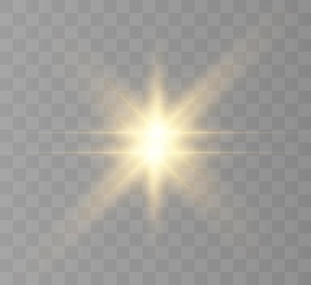 Geel gloeiend licht barstte explosie met transparante vectorillustratie voor cool effect decoratio