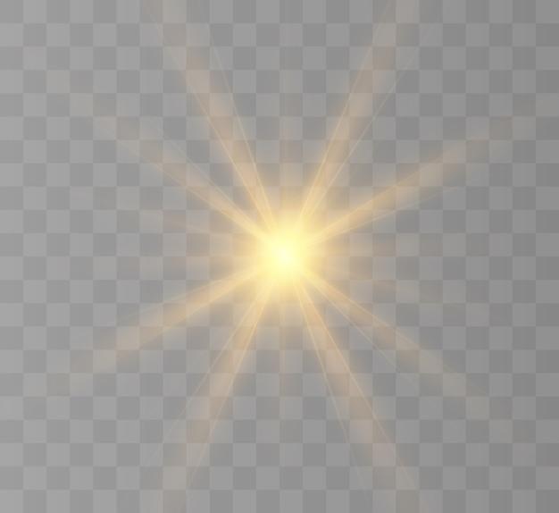 Geel gloeiend licht burst-explosie met transparant.