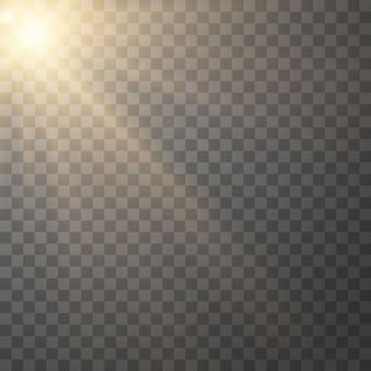 Geel gloeiend licht burst explosie op transparant