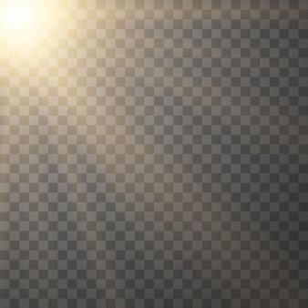 Geel gloeiend licht burst explosie op transparante achtergrond. vector illustratie lichteffect decoratie met straal. heldere ster. doorschijnende zon schijnen, felle gloed. midden levendige flits