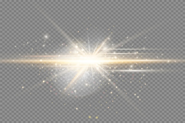 Geel gloeiend licht explodeert op een transparante achtergrond sprankelende magische stofdeeltjes heldere st...