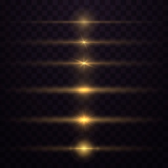 Geel gloeiend licht explodeert op een transparante achtergrond. sprankelende magische stofdeeltjes. heldere ster. transparante stralende zon, felle flits. schittert. om een heldere flits te centreren.
