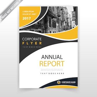 Geel golvend vorm jaarverslagboekje