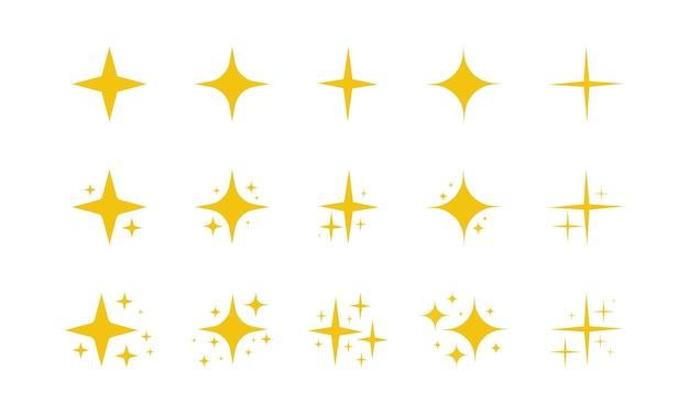 Geel goud oranje schittert sterren, schittert, barst vuurwerk fonkelt glanzend flits gloeiend licht