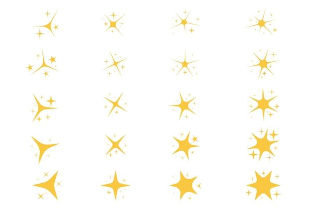 Geel goud oranje schittert symbolen sterren vector