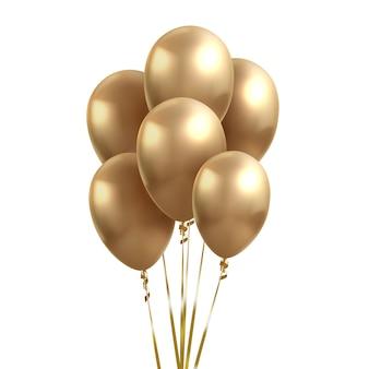Geel gouden ballonnen. glanzende realistische gouden glanzende ballon op janken achtergrond voor vakantie feest.