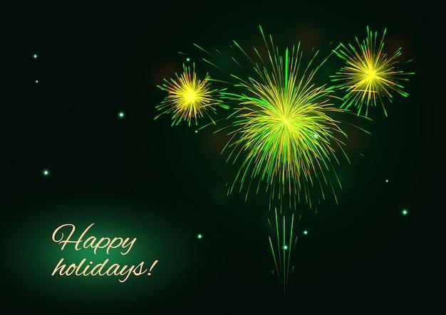Geel, groen, gouden vuurwerk over de sterrenhemel, gelukkige vakantiekaart