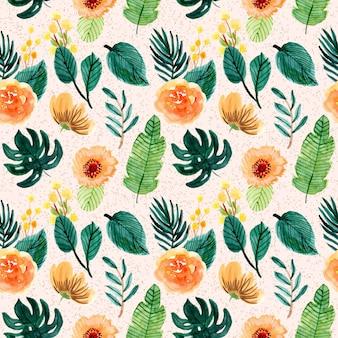 Geel groen tropisch bloemenwaterverf naadloos patroon
