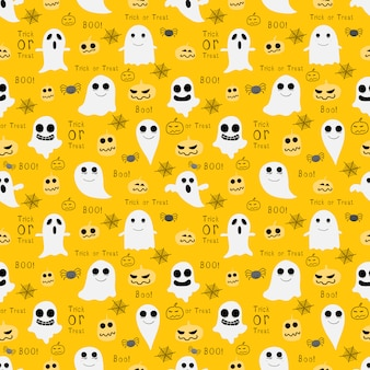 Geel halloween naadloos patroon