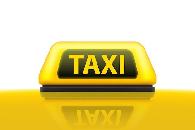 Geel het dakteken van de taxidienstauto op de straat.
