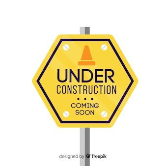 Geel in aanbouw vlak teken