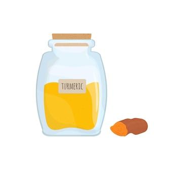 Geel kurkumapoeder bewaard in transparante keukenpot die op wit wordt geïsoleerd