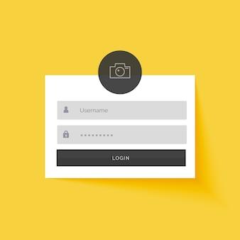 Geel login formulier template design achtergrond