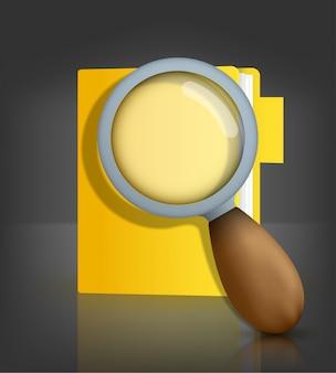 Geel mappictogram met vergrootglas